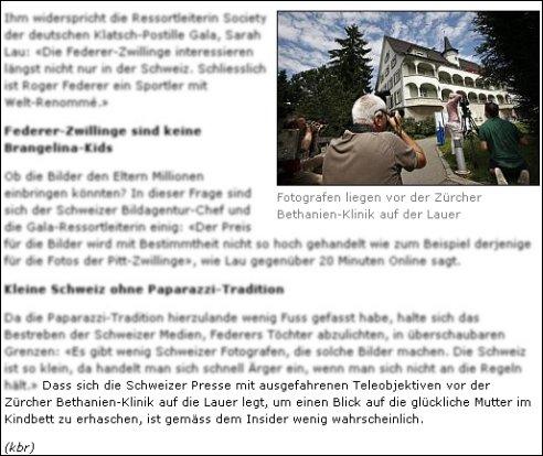 """20min.ch-Artikel """"Federer-Zwillinge sind keine Brangelina-Kids"""""""